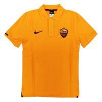 ASローマの2015-16シーズンウェア。 オレンジ色が鮮やかな鹿の子ポロシャツ。右袖にチーム名の入...