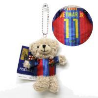 FCバルセロナのオフィシャルグッズ。  ユニフォームを着た、ミニサイズのクマのぬいぐるみキーチェーン...