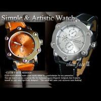 clubface メンズウォッチ本皮クォーツ 腕時計です。 本皮使用の高級感たっぷりの腕時計。 大き...