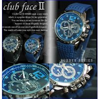 clubface 型押し風ラバーバンド メンズウォッチ メンズ腕時計です。 縦ラインとデザインクロノ...