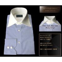 ロイヤルステージ ブルー系 織柄 オーダーシャツ 綿100% ポリ00% 100番手高級素材 播州織 4920930112