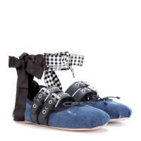 ミュウミュウ Miu Miu レディース フラット シューズ・靴 Buckle-embellished denim ballerinas