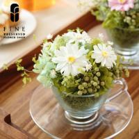 身近な人の幸せを願う花言葉を持つ「ジニア」を、ガラスのテーカップ&ソーサーに生けました。フレッシュな...