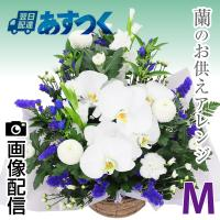 蘭のお花をお入れし、そのとき入荷の新鮮なお花で作成するします。お色も白上がりの他、悲しみを癒やすやさ...
