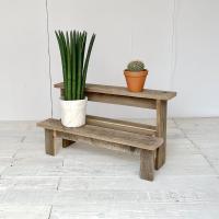 リサイクルウッド・フラワースタンド2段ステップ 花台 木製  玄関 ベランダ ガーデン 天然木製 玄...