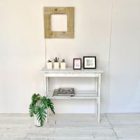 送料無料 リサイクルウッド コンソールテーブル ホワイト コンソール 木製テーブル 飾り棚 キャビネ...