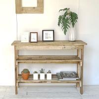 送料無料 リサイクルウッド コンソールテーブル 棚2段 コンソール 木製テーブル 飾り棚 キャビネッ...