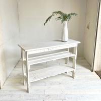 送料無料 リサイクルウッド コンソールテーブル 棚2段 ホワイトコンソール 木製テーブル 飾り棚 キ...