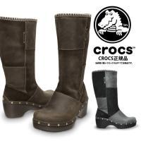 [Crocs Cobbler Studded Boot]  ★天然皮革 レザー 同系色のバイカラーが...