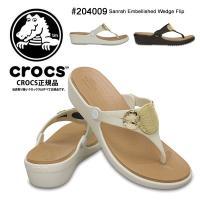 [ Crocs Sanrah Embellished Wedge Flip 204009 ]  エキ...