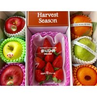 果物を食べた後も飾っておける、プリザーブドフラワーのセットです。  内容物見本:富有柿、ラ・フランス...