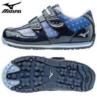 「ミズノ(MIZUNO) 子供靴(キッズシューズ) ビーズキララ3 ネイビー×シルバー 19.5cm...
