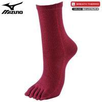 「ミズノ(MIZUNO) ブレスサーモ 5本指ソックス 女性用 レッド」は、ミズノの吸湿発熱素材のブ...