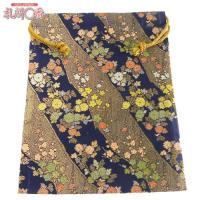 「金襴織物 巾着袋(中判サイズ) 紺地金襴 #13」は、豪華な金襴織物で作られた巾着袋です。サイズは...