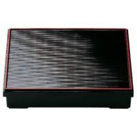 弁当箱 9寸 千筋松花堂弁当 黒天朱 仕切別 樹脂製 f6-1052-3