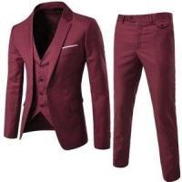 スリーピース メンズ スーツ セットアップ ビジネス 1つボタン ジャケット ベスト スラックス スリム フォーマル オシャレ 結婚式 卒業式 4色
