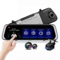 10インチフルスクリーン タッチパネル ルームミラー ドライブレコーダー バックカメラ付 前後カメラ同時録画 フルHD 衝突感応 全画面確認 広角170° RMDF800