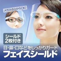 フェイスシールド フェイスガード メガネ型 クリア 軽量 PC素材  軽量 透明シールド シールド取り換え可 防塵飛沫対策 簡単装着 シールド2枚付き FASH02