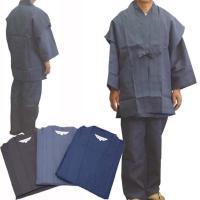 羽織付作務衣 M/L/LLの3サイズ・色は3色より=藍鼠(グレー)・漆黒(黒)・紺青(紺)お選びいた...