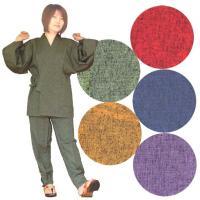 久留米紬織作務衣女性用は2百年という長い歴史の中で磨かれ創り上げられた「織」と「染」その絣の魅力を生...
