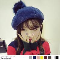 フワフワのファーポンポンが付いたオシャレベレー帽です!!フワフワして愛らしく、秋冬の気分を盛り上げて...