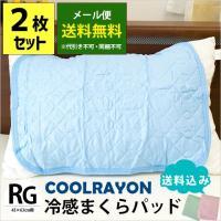 ひんやり枕パッド 2枚セット 43×63cm用 接触冷感 クール 枕カバー ピローパッド ゆうメール便