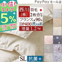 ◆商品名:西川リビング 2枚合わせ 羽毛布団 ダウン90% DP380 1.2kg  羽毛掛けふとん...