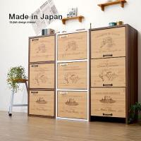 日本製 カラーボックス 収納ボックス 幅39 収納box 3段 扉 扉付き フタ付き 扉付き収納 多...