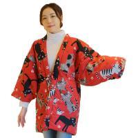 半纏 女性用 かわいい猫柄 綿入り 丹前 はんてん ねこ レディース 婦人 綿入れ 半天 どてら 久留米 日本製