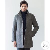冬のアウターに1着は欲しい、ウール混スタンドコート。 バーズアイ柄のシックなチャコール1色。 シルエ...