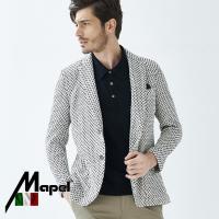 イタリアMAPEL社製生地 織柄コットンサマーニットジャケット ネイビーホワイト 580203 G-...