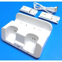 Wii Uゲームパッド1個とWiiリモコン2個を卓上型用充電スタンドに立てかけるだけで、携帯電話のよ...