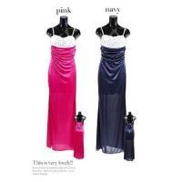 フラワーデザインサテンスカートロングドレス