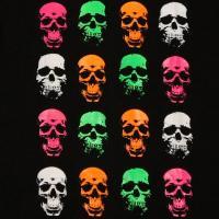 オモシロTシャツ・スカルフェイス【半袖】【蛍光プリント】蛍光Tシャツ・スケボーTシャツ・カジュアルTシャツ・ヒップホップ・面白Tシャツ