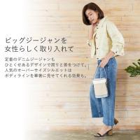 ジャケット レディース デニム ジージャン ゆったり 綿100% ドロップショルダー オーバーサイズ ショート丈 アウター 羽織り カジュアル