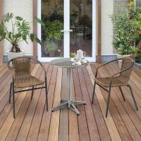 ガーデンテーブル セット/ アルミラウンドテーブル3点セット ALT-01IGF-07 /ラタン/チ...