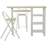 おしゃれなで実用的なカウンターテーブル テーブルには棚が付いているので収納力も十分