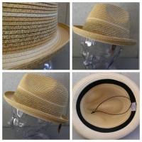 帽子 ミックス編み帯 ストローハット 中折れハット 麦わら帽子(店内商品2点以上ご購入で送料無料)