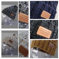 (店内商品2点以上ご購入で送料無料) ニット帽 レザーワッペン ケーブル編み MIXカラー ビーニー プチプラ
