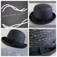 (店内商品2点以上ご購入で送料無料)帽子 ストローボーラーハット 天然素材 グログランリボン