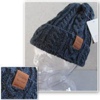 (店内商品2点以上ご購入で送料無料)帽子 ウール100% 上質 ニット帽 ビーニー ケーブル レザー あったか 4色展開