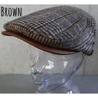 (店内商品2点以上ご購入で送料無料) 帽子 ウール 起毛 グレンチェック ハンチング サイズ調整 レザー プチプラ