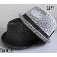 (店内商品2点以上ご購入で送料無料)帽子 ヘリンボーン マニッシュ 中折れハット メルトン ツィード こなれ