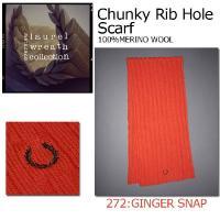 FRED PERRY (フレッド ペリー) Chunky Rib Hole Scarf(チャッキーリブホールスカーフ) 厚手のニットマフラー