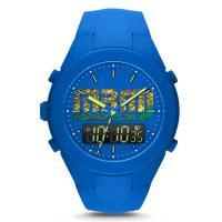 ☆ 鮮やかブルーのシリコンデュアルタイムメンズ時計です ☆  色:文字盤=ブルー・ブラック ブレスレ...