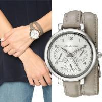 ★グレーのレザーベルトとシルバー。ダブルストラップ仕様でブレスレットのように使える時計★  ムーブメ...