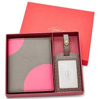 ピンクドッドプリントのパスポートケースとラゲージタグのギフトセットです★  カラー:グレー・ピンクド...