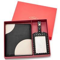 ブラック・ホワイトドッドプリントのパスポートケースとラゲージタグのギフトセットです★  カラー:ブラ...