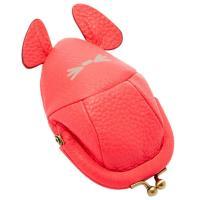 かわいいネズミのデザイン、鮮やかなサンゴカラーのレザーコインケースです★ポップで愛らしい小銭入れは大...