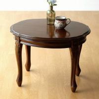 コーヒーテーブル 木製 カフェテーブル おしゃれ アンティーク 無垢 マホガニーオーバルローテーブル 猫脚